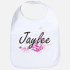 Jaylee Artistic Name Design with Flowers Bib