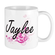 Jaylee Artistic Name Design with Flowers Mugs