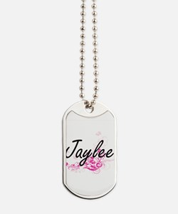 Jaylee Artistic Name Design with Flowers Dog Tags