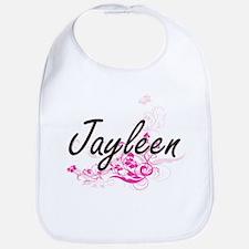 Jayleen Artistic Name Design with Flowers Bib
