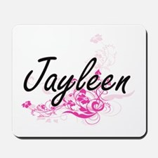 Jayleen Artistic Name Design with Flower Mousepad