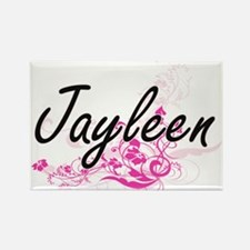 Jayleen Artistic Name Design with Flowers Magnets