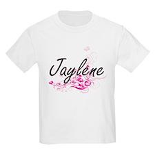 Jaylene Artistic Name Design with Flowers T-Shirt