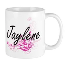 Jaylene Artistic Name Design with Flowers Mugs