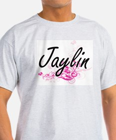 Jaylin Artistic Name Design with Flowers T-Shirt