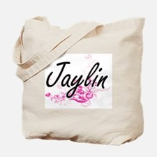 Jaylin Artistic Name Design with Flowers Tote Bag