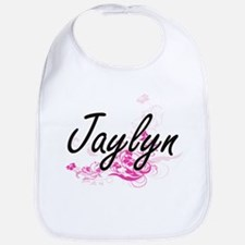 Jaylyn Artistic Name Design with Flowers Bib