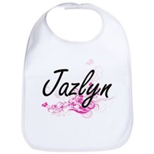 Jazlyn Artistic Name Design with Flowers Bib