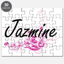 Jazmine Artistic Name Design with Flowers Puzzle