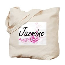 Jazmine Artistic Name Design with Flowers Tote Bag