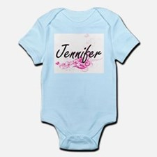Jennifer Artistic Name Design with Flowe Body Suit