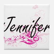 Jennifer Artistic Name Design with Fl Tile Coaster
