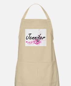 Jennifer Artistic Name Design with Flowers Apron