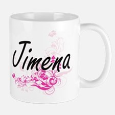 Jimena Artistic Name Design with Flower Mugs
