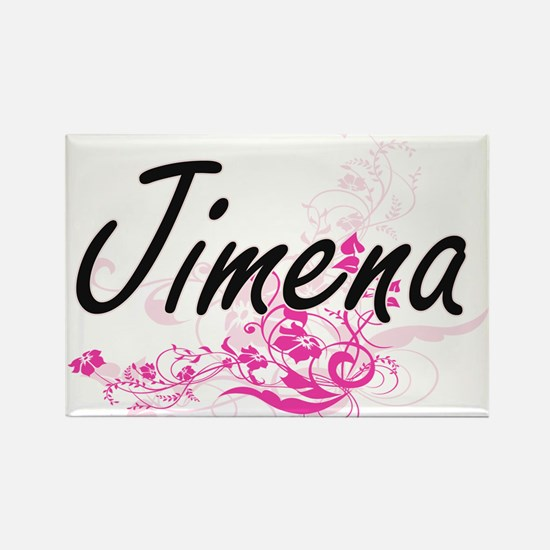 Jimena Artistic Name Design with Flowers Magnets