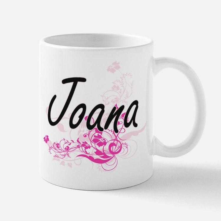 Joana Artistic Name Design with Flowers Mugs