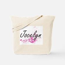 Jocelyn Artistic Name Design with Flowers Tote Bag