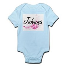 Johana Artistic Name Design with Flowers Body Suit