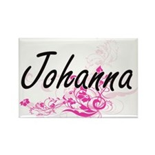 Johanna Artistic Name Design with Flowers Magnets