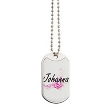 Johanna Artistic Name Design with Flowers Dog Tags