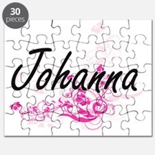 Johanna Artistic Name Design with Flowers Puzzle