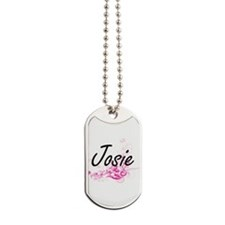 Josie Artistic Name Design with Flowers Dog Tags