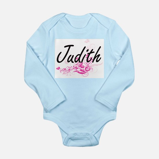 Judith Artistic Name Design with Flowers Body Suit