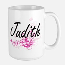 Judith Artistic Name Design with Flowers Mugs
