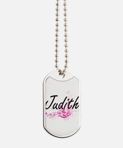 Judith Artistic Name Design with Flowers Dog Tags