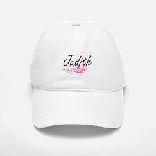 Judith Artistic Name Design with Flowers Baseball Baseball Cap