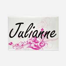 Julianne Artistic Name Design with Flowers Magnets