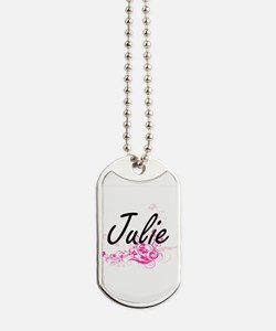 Julie Artistic Name Design with Flowers Dog Tags