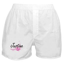 Justine Artistic Name Design with Flo Boxer Shorts