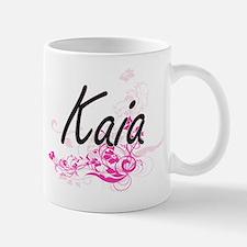 Kaia Artistic Name Design with Flowers Mugs