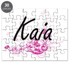 Kaia Artistic Name Design with Flowers Puzzle