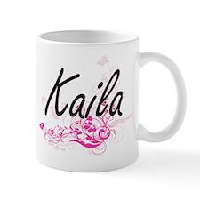 Kaila Artistic Name Design with Flowers Mugs
