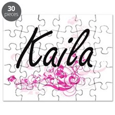 Kaila Artistic Name Design with Flowers Puzzle