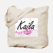 Kaila Artistic Name Design with Flowers Tote Bag