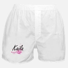Kaila Artistic Name Design with Flowe Boxer Shorts