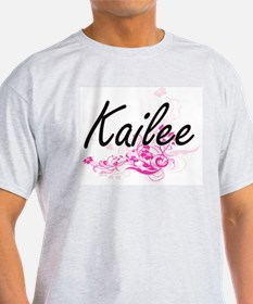 Kailee Artistic Name Design with Flowers T-Shirt
