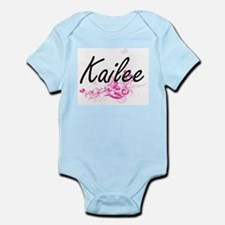 Kailee Artistic Name Design with Flowers Body Suit