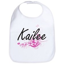 Kailee Artistic Name Design with Flowers Bib