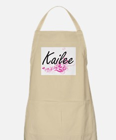 Kailee Artistic Name Design with Flowers Apron