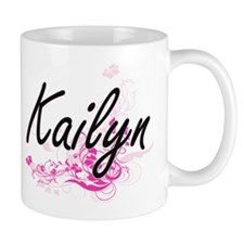 Kailyn Artistic Name Design with Flowers Mugs