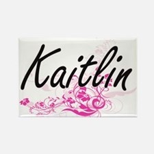 Kaitlin Artistic Name Design with Flowers Magnets