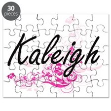 Kaleigh Artistic Name Design with Flowers Puzzle