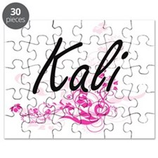 Kali Artistic Name Design with Flowers Puzzle