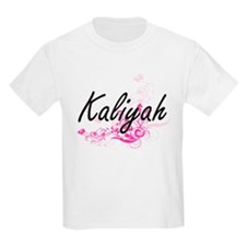 Kaliyah Artistic Name Design with Flowers T-Shirt