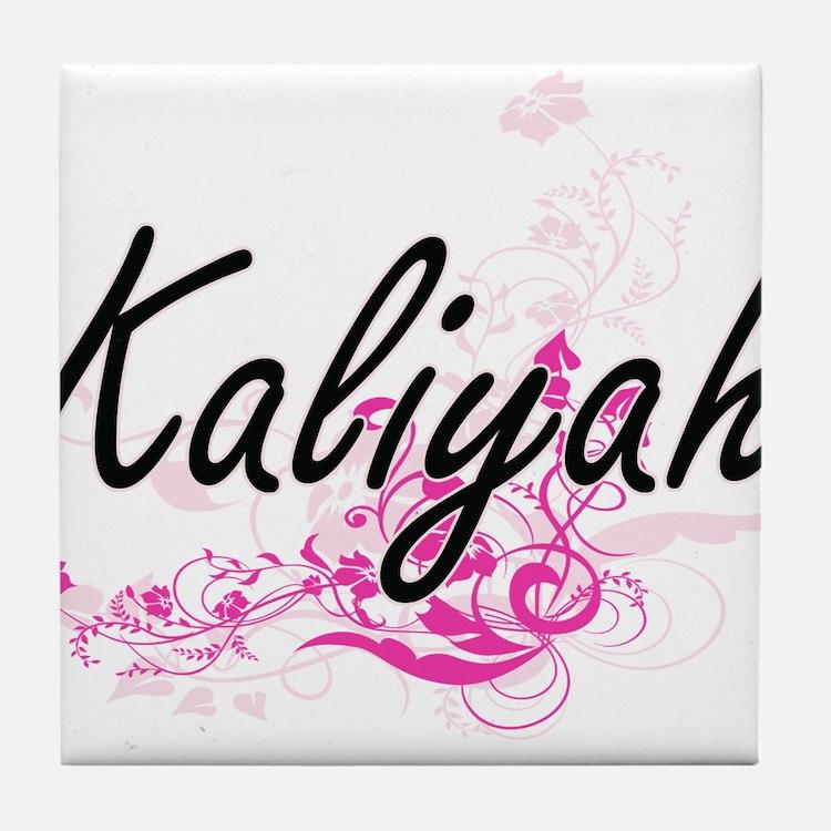 Kaliyah Artistic Name Design with Flo Tile Coaster