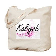 Kaliyah Artistic Name Design with Flowers Tote Bag